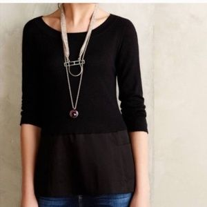 Anthropologie Moth Breezy Point Black Sweater L